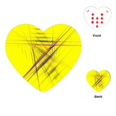 Fractal Color Parallel Lines On Gold Background Playing Cards (heart)