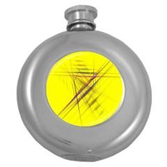 Fractal Color Parallel Lines On Gold Background Round Hip Flask (5 oz)