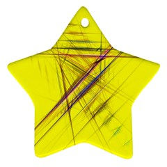Fractal Color Parallel Lines On Gold Background Star Ornament (Two Sides)