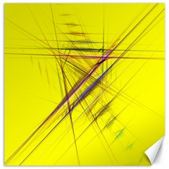 Fractal Color Parallel Lines On Gold Background Canvas 16  x 16