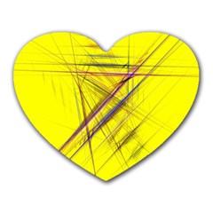 Fractal Color Parallel Lines On Gold Background Heart Mousepads