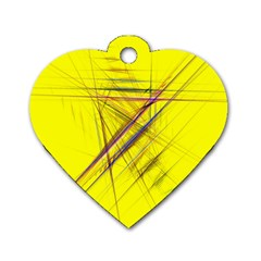 Fractal Color Parallel Lines On Gold Background Dog Tag Heart (two Sides)