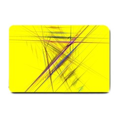 Fractal Color Parallel Lines On Gold Background Small Doormat
