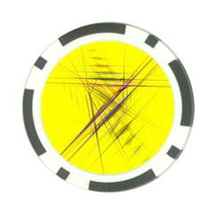 Fractal Color Parallel Lines On Gold Background Poker Chip Card Guard