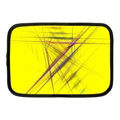 Fractal Color Parallel Lines On Gold Background Netbook Case (Medium)