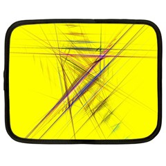 Fractal Color Parallel Lines On Gold Background Netbook Case (large)