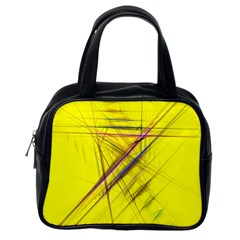Fractal Color Parallel Lines On Gold Background Classic Handbags (one Side)