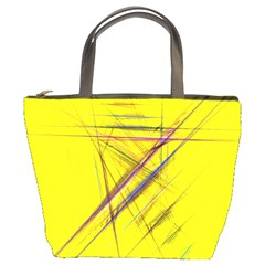 Fractal Color Parallel Lines On Gold Background Bucket Bags