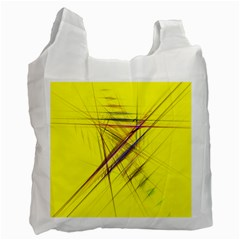 Fractal Color Parallel Lines On Gold Background Recycle Bag (One Side)