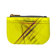 Fractal Color Parallel Lines On Gold Background Mini Coin Purses
