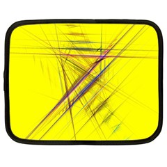 Fractal Color Parallel Lines On Gold Background Netbook Case (XL)