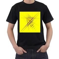 Fractal Color Parallel Lines On Gold Background Men s T Shirt (black)