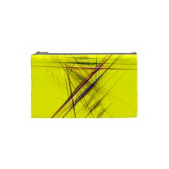Fractal Color Parallel Lines On Gold Background Cosmetic Bag (Small)