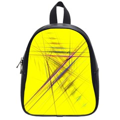 Fractal Color Parallel Lines On Gold Background School Bags (Small)