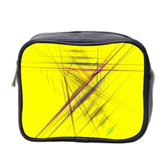 Fractal Color Parallel Lines On Gold Background Mini Toiletries Bag 2-Side