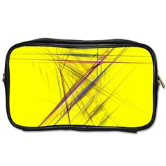 Fractal Color Parallel Lines On Gold Background Toiletries Bags 2 Side