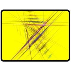 Fractal Color Parallel Lines On Gold Background Fleece Blanket (Large)