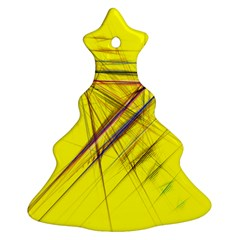 Fractal Color Parallel Lines On Gold Background Christmas Tree Ornament (two Sides)