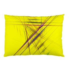 Fractal Color Parallel Lines On Gold Background Pillow Case (Two Sides)