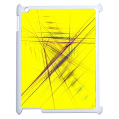 Fractal Color Parallel Lines On Gold Background Apple iPad 2 Case (White)