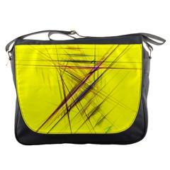 Fractal Color Parallel Lines On Gold Background Messenger Bags
