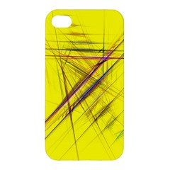 Fractal Color Parallel Lines On Gold Background Apple iPhone 4/4S Premium Hardshell Case