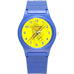 Fractal Color Parallel Lines On Gold Background Round Plastic Sport Watch (S)