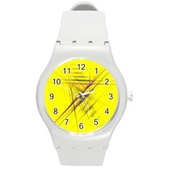 Fractal Color Parallel Lines On Gold Background Round Plastic Sport Watch (m)