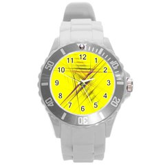 Fractal Color Parallel Lines On Gold Background Round Plastic Sport Watch (l)
