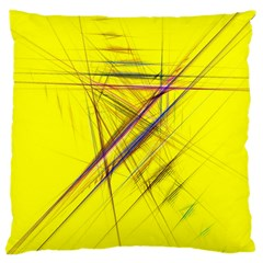 Fractal Color Parallel Lines On Gold Background Large Cushion Case (One Side)