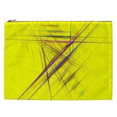 Fractal Color Parallel Lines On Gold Background Cosmetic Bag (xxl)