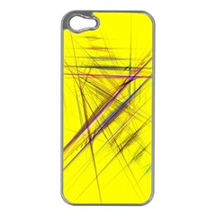 Fractal Color Parallel Lines On Gold Background Apple iPhone 5 Case (Silver)
