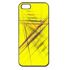 Fractal Color Parallel Lines On Gold Background Apple iPhone 5 Seamless Case (Black)