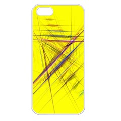Fractal Color Parallel Lines On Gold Background Apple Iphone 5 Seamless Case (white)