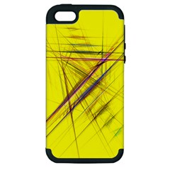 Fractal Color Parallel Lines On Gold Background Apple iPhone 5 Hardshell Case (PC+Silicone)