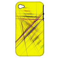 Fractal Color Parallel Lines On Gold Background Apple iPhone 4/4S Hardshell Case (PC+Silicone)