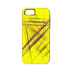 Fractal Color Parallel Lines On Gold Background Apple Iphone 5 Classic Hardshell Case (pc+silicone)
