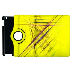 Fractal Color Parallel Lines On Gold Background Apple iPad 2 Flip 360 Case