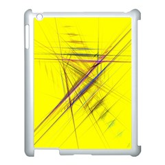 Fractal Color Parallel Lines On Gold Background Apple iPad 3/4 Case (White)