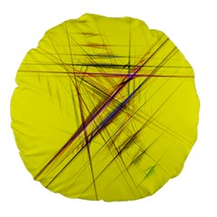 Fractal Color Parallel Lines On Gold Background Large 18  Premium Round Cushions