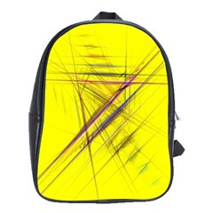 Fractal Color Parallel Lines On Gold Background School Bags (XL)