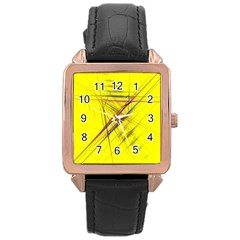 Fractal Color Parallel Lines On Gold Background Rose Gold Leather Watch