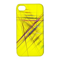 Fractal Color Parallel Lines On Gold Background Apple iPhone 4/4S Hardshell Case with Stand