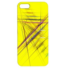 Fractal Color Parallel Lines On Gold Background Apple iPhone 5 Hardshell Case with Stand