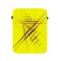 Fractal Color Parallel Lines On Gold Background Apple iPad 2/3/4 Protective Soft Cases