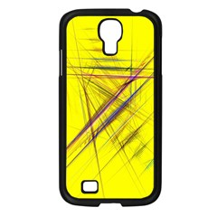 Fractal Color Parallel Lines On Gold Background Samsung Galaxy S4 I9500/ I9505 Case (black)