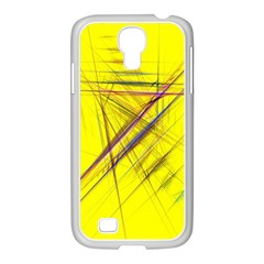 Fractal Color Parallel Lines On Gold Background Samsung GALAXY S4 I9500/ I9505 Case (White)