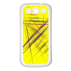 Fractal Color Parallel Lines On Gold Background Samsung Galaxy S3 Back Case (White)