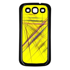 Fractal Color Parallel Lines On Gold Background Samsung Galaxy S3 Back Case (black)
