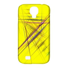 Fractal Color Parallel Lines On Gold Background Samsung Galaxy S4 Classic Hardshell Case (pc+silicone)